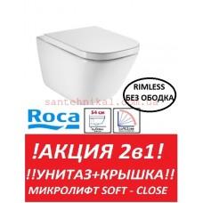 Унитаз подвесной Roca Gap A34647L000  без ободка сидение Soft-Close