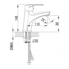 LIDICE смеситель для раковины большой, хром, 35 мм Imprese 05095 (M)