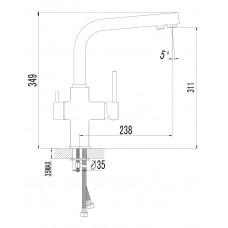 DAICY смеситель для кухни однорычажный с подключением питьевой воды. Imprese 55009-F