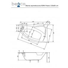 Ванна акриловая RIMA 130х85 BESCO правосторонняя от производителя акриловых ванн и поддонов BESCO