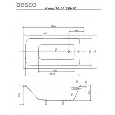 Ванна акриловая Talia 150х70 Besco PMD Piramida от производителя акриловых ванн и поддонов BESCO