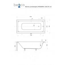 Ванна акриловая MODERN 130х70 Besco PMD Piramida от производителя акриловых ванн и поддонов BESCO