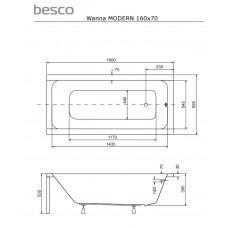 Ванна акриловая MODERN 160х70 Besco PMD Piramida от производителя акриловых ванн и поддонов BESCO