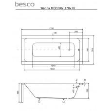 Ванна акриловая MODERN 170х70 Besco PMD Piramida от производителя акриловых ванн и поддонов BESCO