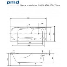 Ванна акриловая MAJKA NOVA 150x70 Besco PMD Piramida от производителя акриловых ванн и поддонов BESCO