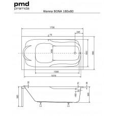 Ванна акриловая BONA 180x80 Besco PMD Piramida от производителя акриловых ванн и поддонов BESCO