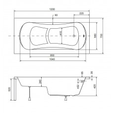 Ванна акриловая ARIA REHAB 120x70 Besco PMD Piramida с сидением и отверстиями под ручки от производителя акриловых ванн и поддонов BESCO
