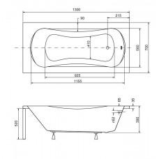 Ванна акриловая ARIA 130x70 Besco PMD Piramida от производителя акриловых ванн и поддонов BESCO