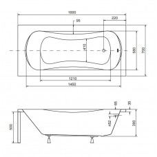 Ванна акриловая ARIA 160x70 Besco PMD Piramida от производителя акриловых ванн и поддонов BESCO