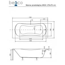 Ванна акриловая ARIA Plus 170x70 Besco PMD Piramida от производителя акриловых ванн и поддонов BESCO