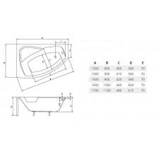 Ванна акриловая RIMA 150х95 BESCO левосторонняя от производителя акриловых ванн и поддонов BESCO