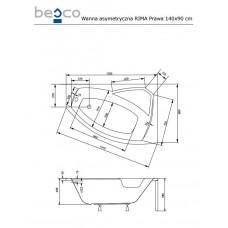 Ванна акриловая RIMA 140х90 BESCO правосторонняя от производителя акриловых ванн и поддонов BESCO