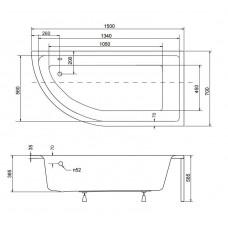 Ванна акриловая PRAKTIKA 150х70 BESCO правосторонняя от производителя акриловых ванн и поддонов BESCO