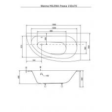 Ванна акриловая MILENA 150х70 BESCO правосторонняя от производителя акриловых ванн и поддонов BESCO