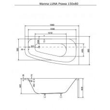 Ванна акриловая LUNA 150х80 BESCO правосторонняя от производителя акриловых ванн и поддонов BESCO