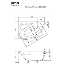 Ванна акриловая ADA 160х100 BESCO левосторонняя с отверстиями под ручки от производителя акриловых ванн и поддонов BESCO