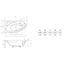 Ванна акриловая CORNEA 150х100 BESCO правосторонняя от производителя акриловых ванн и поддонов BESCO