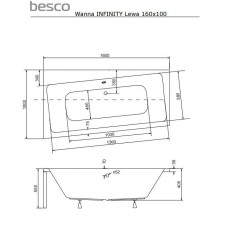 Ванна акриловая INFINITY 160х100 BESCO левосторонняя от производителя акриловых ванн и поддонов BESCO