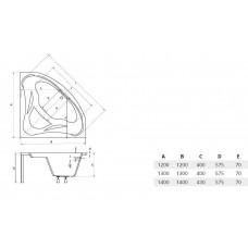 Ванна акриловая угловая MIA 140х140 BESCO PMD PIRAMIDA от производителя акриловых ванн и поддонов BESCO