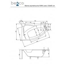 Ванна акриловая RIMA 130х85 BESCO левосторонняя от производителя акриловых ванн и поддонов BESCO