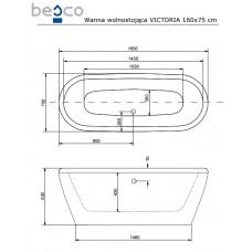 Ванна отдельно стоящая Victoria 160x75 Besco PMD PIRAMIDA от производителя акриловых ванн и поддонов BESCO