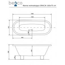 Ванна отдельно стоящая c деревянными ногами Gracja 160x75 Besco PMD PIRAMIDA от производителя акриловых ванн и поддонов BESCO