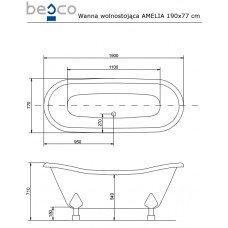 Ванна отдельно стоящая c лапами хром Amelia 190x77 Besco PMD PIRAMIDA от производителя акриловых ванн и поддонов BESCO