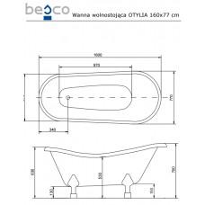 Ванна отдельно стоящая c лапами хром Otylia 160x77 Besco PMD PIRAMIDA от производителя акриловых ванн и поддонов BESCO
