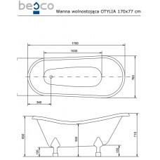 Ванна отдельно стоящая c лапами латунь Otylia 170x77 Besco PMD PIRAMIDA от производителя акриловых ванн и поддонов BESCO