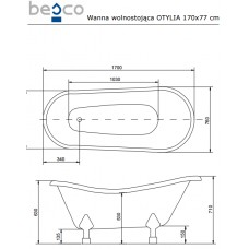 Ванна отдельно стоящая c лапами хром Otylia 170x77 Besco PMD PIRAMIDA от производителя акриловых ванн и поддонов BESCO