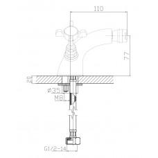 CUTHNA stribro двухвентильный смеситель для биде Imprese 40280 stribro