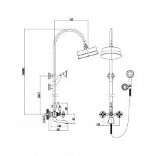 CUTHNA stribro система душевая (двухвентильный смеситель для ванны Imprese T-10280 stribro