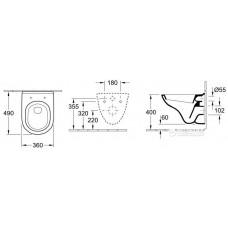Комплект инсталляции Tece 9400006 с унитазом Villeroy&Boch O.Novo DirectFlush 5688HR01 с сиденьем Soft Closing