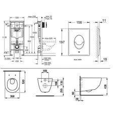 Комплект инсталляции Grohe Rapid SL 38721001 + унитаз Laufen Pro Rimless H8209660000001 c сидением Soft Close H8939590000001
