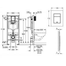Комплект инсталляция Grohe Rapid SL 39501000 + Унитаз подвесной LAUFEN PRO Rimless (без ободка) + сиденье с крышкой SOFT CLOSE H8209660000001