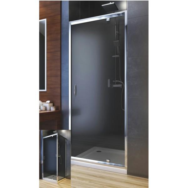 Душевая дверь в нишу или со стенкой NIGRA графитовое 90 103-40083