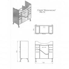 Тумба JUVENTA FRANCHESKA Ф4-75 белая