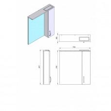 Зеркальный шкаф JUVENTA TRENTO TrnMC-75 правый