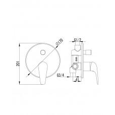 KRINICE смеситель скрытого монтажа для ванн Imprese VR-10110(Z)