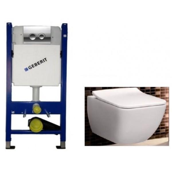 Инсталляция Geberit 458.121.21.1 4в1 комплект с унитазом Villeroy & Boch Venticello Direct Flush 4611RS01+SoftClose SlimSeat 9M79S101