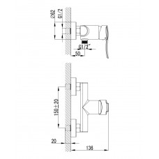 NOVA VLNA смеситель для душа Imprese 15135