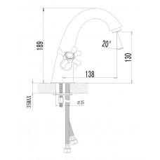 RALSKO NEW двухвентильнный смеситель для раковины Imprese 05240NEW