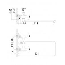 RALSKO NEW смеситель для ванны с длинным изливом Imprese 35240NEW