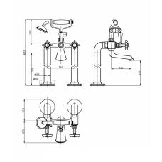 CUTHNA stribro смеситель для ванны Imprese Н-10280 stribro